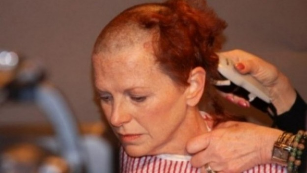 "Actress Tammy Townsend braves having her head shaved to perform in the PSA ""Down The Drain"" for Hair Peace Charities"